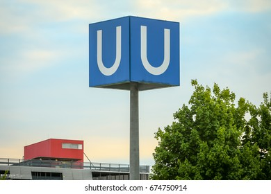 MUNCHEN, GERMANY - MAY 9, 2017 : A large U- Bahn subway sign in Munich, Germany. About 350 million passengers ride the U-Bahn every year.