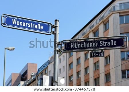 Munchener Street Weserstrasse Street Sign Post Stock Photo (Edit Now ... 079ba61b3
