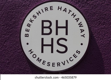 Muncie - Circa August 2016: Berkshire Hathaway HomeServices Sign. HomeServices is subsidiary of Berkshire Hathaway Energy II