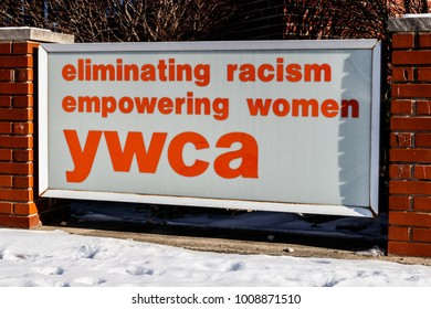 Muncie - Circa January 2018: Logo and signage of a local YWCA - eliminating racism, empowering women