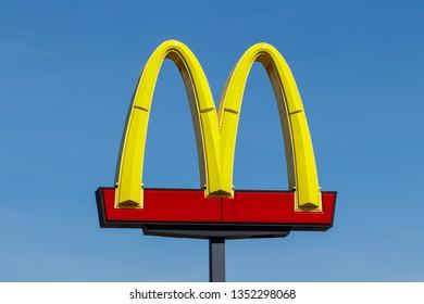 Muncie - Circa March 2019: McDonald's Restaurant Location. McDonald's will no longer lobby against minimum wage hikes IV