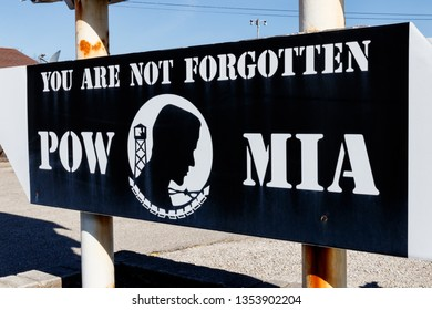 Muncie - Circa March 2019: POW MIA Prisoner of War Missing in Action sign I