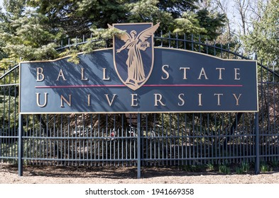 Muncie - Circa March 2021: Ball State University entrance. Ball State is a public research university whose sports teams are the Cardinals and the logo includes the Beneficence.