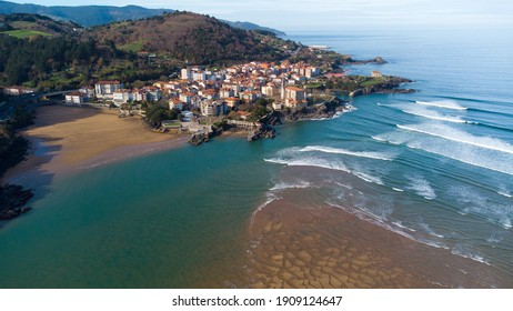 Mundaka viewed from the air with a drone (Basque Country, Spain)