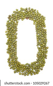 Mung bean composed of letters of the alphabet