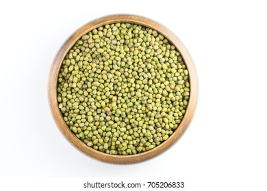 mung bean in wooden bowl isolated on white background ,top view
