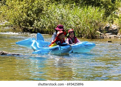 Mungyeong, South Korea - August 6, 2017: Peoples who ride small boat in the valley