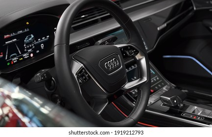 Munich, 18. February 2021: Audi S8 - Luxurious, Comfortable And Modern Car Interior. Ideal Concept For Power, Performance, Automobile And Technology.