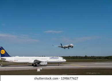Munich - 2019, Lufthansa Airbus A350 landing at Franz Josef Strauss Airport Munich (MUC) in Munich, Germany