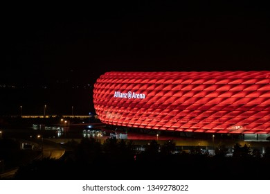 Munich, Allianz Arena, germany - Sep 07 2018: The soccer stadium (Allianz Arena - in english alliance arena) in munich of the team FC Bayern Munich at night in red colors