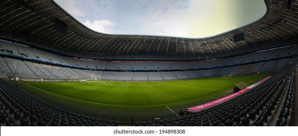 MUNICH - APRIL 13: The Allianz Arena Football Stadium on April 13, 2014 in Munich, Germany. The Allianza Arena is the home stadium of Bayern Munich and TSV 1860 Munich football teams.