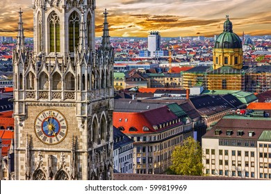 Munich architectural sunset view, Germany, Bavaria. Marienplatz town hall