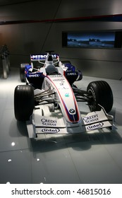 MUNICH - AUGUST 7: Formula One car of BMW Sauber team on August 7, 2008 in BMW Welt museum in Munich, Germany. BMW Sauber was the 2nd F1 team in 2007 and the 3rd in 2008.