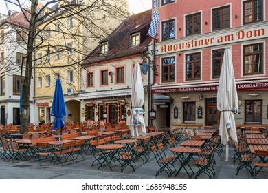 Munich ¬- Bavaria - Germany, 27. March 2020: empty closed restaurants and bars, because of shutdown due to corona virus