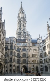 Munich, Bavaria, Germany- 29th March 2017 details of the Town Hall and the square on the Marienplatz