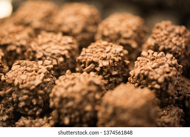 MUNICH, BAVARIA / GERMANY - April 4, 2019: Close up / macro of chocolate pralines. Captured at eataly (shop with Italian specialities) in the Schrannenhalle, Munich.