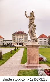 MUNICH, BAVARIA, GERMANY - CIRCA OCTOBER, 2018: The Park of Nymphenburg Palace in fall in Munich, Germany