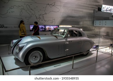MUNICH, BAVARIA, GERMANY - DECEMBER 22, 2018: Classic (60s, 70s, 80s, 90s), modern (3,5,7, M Power), electric (i3, i5, i8) BMW cars and motorcycle at the BMW Museum and Welt in Munich.