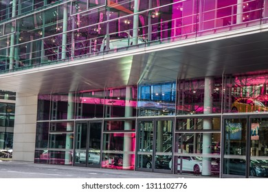 Munich, Bavaria / Germany - February 2 2019. Mercedes building in munich front entrance.