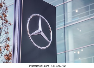 Munich, Bavaria / Germany - February 2 2019. Merceds Benz symbol in front of Mercedes building.