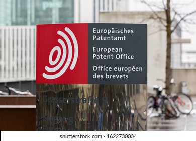 MUNICH, BAVARIA / GERMANY - Jan 21, 2020: Sign at the entrance of the European Patent Office headquarters in Munich (EPO). Dealing with intellectual property, protection of copyrights, inventions etc.