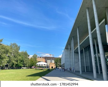 Munich, Bavaria / Germany - July 20 2020: Modern art Museum in Munich on a summer day during times of the corona pandemic