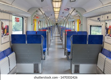 MUNICH, BAVARIA / GERMANY - Jun 16, 2019: An empty S-Bahn (S-train) wagon. Straight view, no people. Around 840k passengers use the Munich S-Bahn during working days. The total route network is 434km.