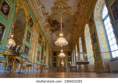 Munich, Bavaria, Germany - June 2018: Interior of the Munich Residence. The Munich Residence served as the seat of government and residence of the Bavarian dukes, electors and kings from 1508 to 1918