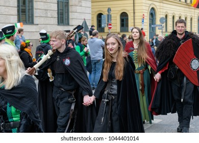 MUNICH, BAVARIA, GERMANY -  MARCH 11, 2018: People in clothes of the Middle Ages at the St. Patrick's Day Parade.