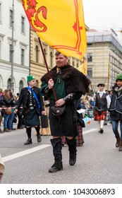 MUNICH, BAVARIA, GERMANY -  MARCH 13, 2016: People in clothes of the Middle Ages at the St. Patrick's Day Parade.