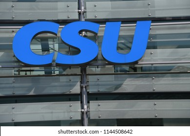 Munich, Bavaria / Germany - May 19, 2018: Sign at the entrance to the headquarters of conservative Christian Social Party - CSU in Munich, Germany - The CSU operates only in Bavaria