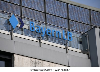 Munich, Bavaria / Germany - May 19, 2018: Bayern LB logo at the entrance of the headquarters of the Bayerische Landesbank in Munich, Germany