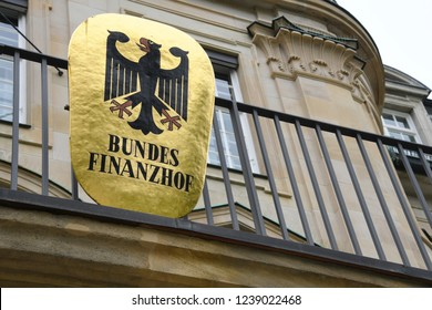 Munich, Bavaria / Germany - May 19, 2018: Sign of The Federal Finance Court - Bundesfinanzhof - in Munich, Germany - It is one of the federal Supreme Courts of Germany