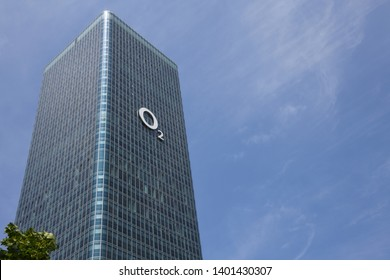 Munich, Bavaria / Germany - May 19, 2018: Headquarters of O2 in Munich, Germany - O2 is a brand of Telefónica Deutschland Holding AG