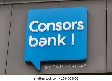 MUNICH, BAVARIA / GERMANY - November 12, 2019: Close up view on Consorsbank logo / sign. One of the leading online / discount brokers in Germany. Part of the french BNP Paribas bank. Online Banking.