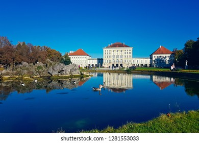 MUNICH, BAVARIA, GERMANY - October 14, 2017: The beautiful 18th century architecture of the Nymphenburg Palace located in Schlosspark Nymphenburg.