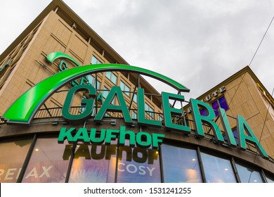 MUNICH, BAVARIA / GERMANY - October 2, 2019: View on Galeria Kaufhof logo & writing. Kaufhof is a  department store chain. It was founded in 1869. Recently the company was merged with Karstadt.