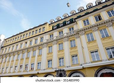 MUNICH, BAVARIA/ GERMANY October 28 2015: yellow white facade of dallmayr store in munich city.