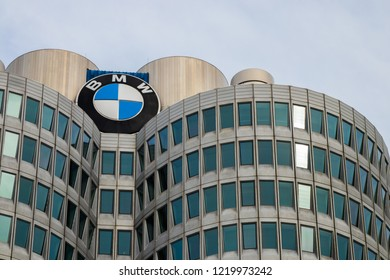 Munich, Bavaria, Germany - October 30 2018. BMW Tower in Fall. Headquarter of the Car Company BMW.
