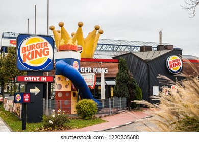 Munich, Bavaria, Germany - October 30 2018. Burger King restaurant with a big crown on top.