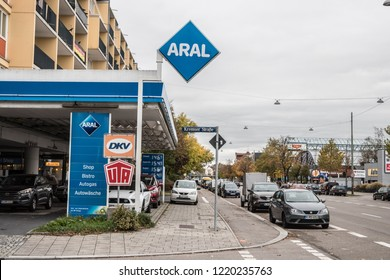 Munich, Bavaria, Germany - October 30 2018. ARAL gas station in munich at a road.