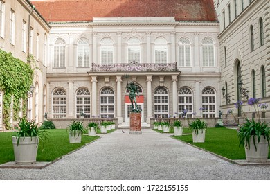 In Munich, Bavaria, Germany on 08/25/2019. View of the beautiful inner courtyard of the Munich Residence.