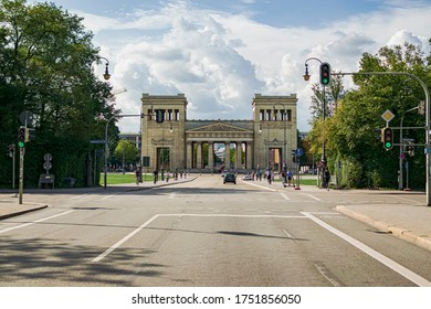 In Munich, Bavaria, Germany, on 08/28/2019. View from the Königsplatz road and the beautiful Propylaea monument.
