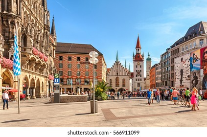 Munich, Bavaria, Germany - September 15, 2016: Old Town Hall at Marienplatz Square.