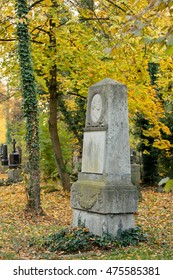 Munich, Bavaria, Gernany - November, 1st 2015. Tombstones at an old graveyard in Munich on All Hollows.