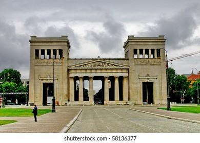 "Munich. Building ""Propylaea"" - classical doric order of architecture"