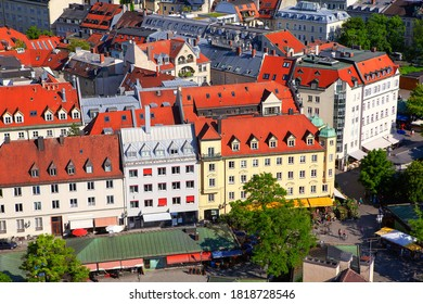 Munich central district aerial view . German houses with red roofs and attics