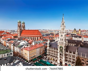 Munich at Christmas, the Marienplatz. Top view, Bavaria, Germany