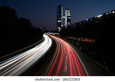 Munich City A9 Autobahn Lighttrail Highway at Night