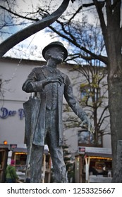 Munich - Dec 08, 2018: Fountains celebrating famous Bavarian folk artists can be found at the Viktualienmarkt. This fountain commemorates folk singer and comedian Karl Valentin.